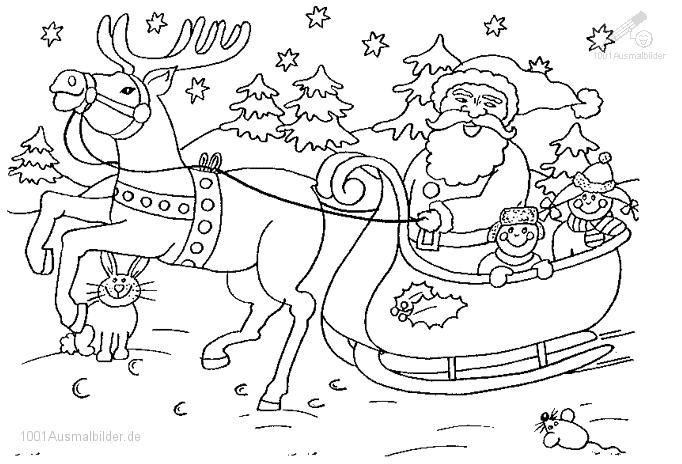 Ausmalbild Weihnachtsmann Schlitten  ...