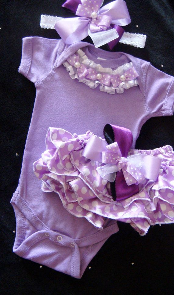 Newborn baby girl take me home outfit  hospital outfit lavender, lilac, purple bodysuit polka dot bloomers headband