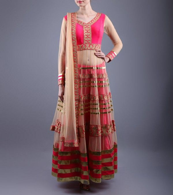 Beige & Pink Embroidered Raw Silk & Net Anarkali Suit  Shop Online: http://www.shadesandyou.com/product/beige-pink-embroidered-raw-silk-net-anarkali-suit/  #DressLehenga #BridalLehengaCholi