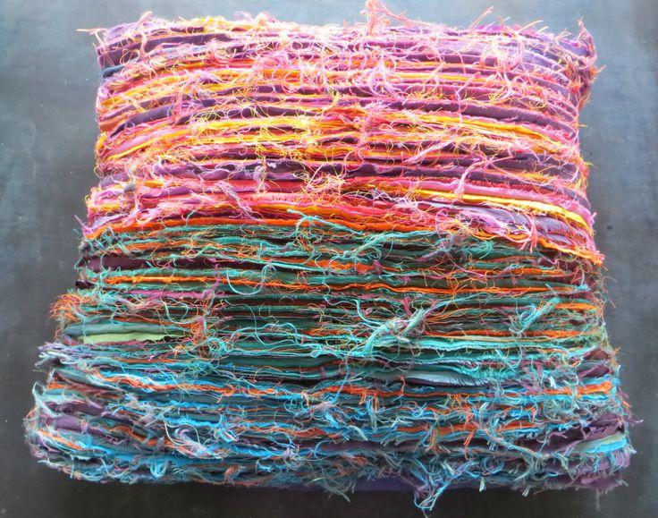 Cushion using hand-dyed silk, slash technique.
