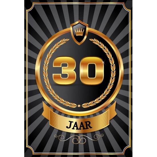 30 jaar deurposter. Mooie deurposter 30 jaar, zwart met goud kleur. Deze poster kunt u op het raam of op de deur hangen. Afmeting: A2 formaat, ongeveer 59 x 42 cm. Fun en Feest 30 jaar feestartikelen.