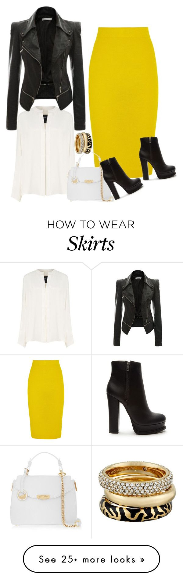 """J. Crew Yellow Wool Skirt"" by ladygroovenyc on Polyvore featuring Derek Lam, J.Crew, Versace, Forever 21 and Michael Kors"