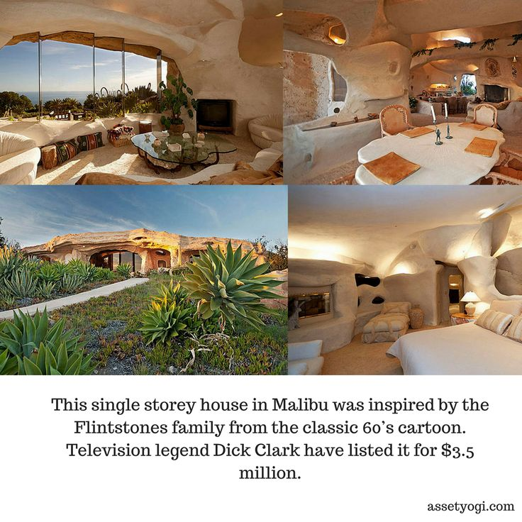 This single storey house in Malibu was inspired by the Flintstones family from the classic 60's cartoon. Television legend Dick Clark have listed it for $3.5 million.  #RealEstate #Architecture #Malibu #AmazingArchitecture #AssetYogi