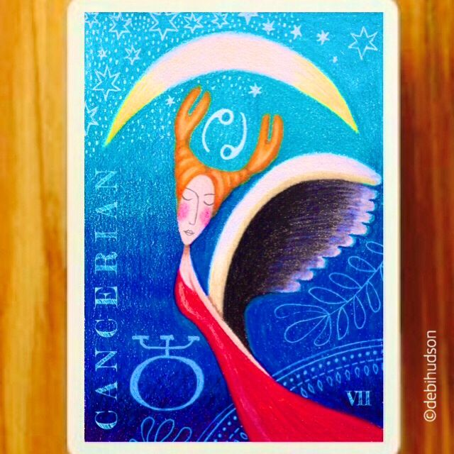 Cancerian zodiac card for Make Art That Sells Bootcamp with Lilla Rogers - May 2016 by Debi Hudson
