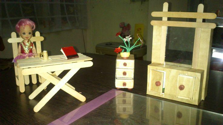 Mini doll furniture made from ice-cream sticks