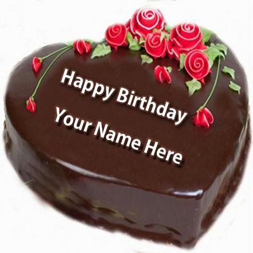 Write Name On Chocolate Heart Birthday Cake With Name