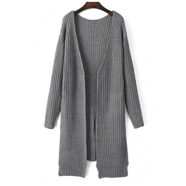 Plain V-Neck Split Side Pocket Detail Long Line Cardigan ($19) ❤ liked on Polyvore featuring tops, cardigans, beautifulhalo, v-neck tops, long line cardigan, pocket tops, longline cardigan and longline top