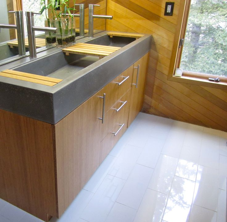 Bamboo Vanity With Concrete Troff I E Trough Sink And Bamboo Countertop Kjs Construction