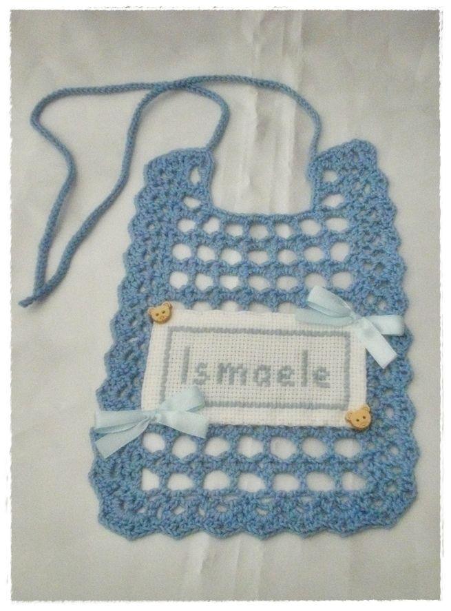 Crochet bib with writing cross stitch
