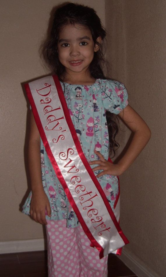 Daddy's Sweetheart satin sash pageant sash by ChildishThoughts