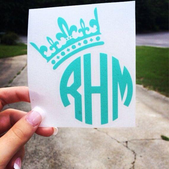 Crown Personalized Monogram Vinyl Decal Sticker  by KareAndDesign, $3.99