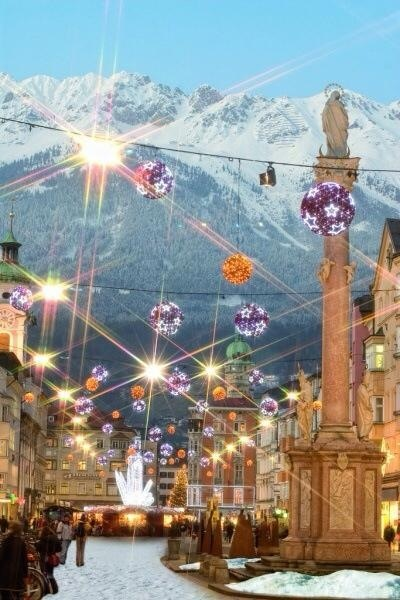 Insbrook, Austria at Christmas. We were there in November and it was decorated. Absolutely spectacular.