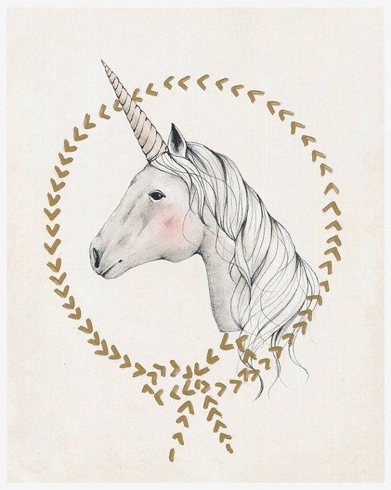 Unicornio impresión de arte 10 X 12 por KelliMurrayArt en Etsy