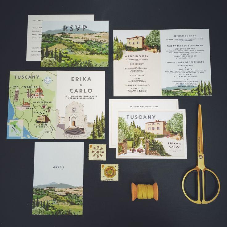 vintage travel postcard style invitation tuscany wedding italy