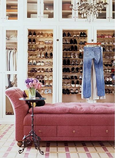 pink pop in shoe closet dressing room