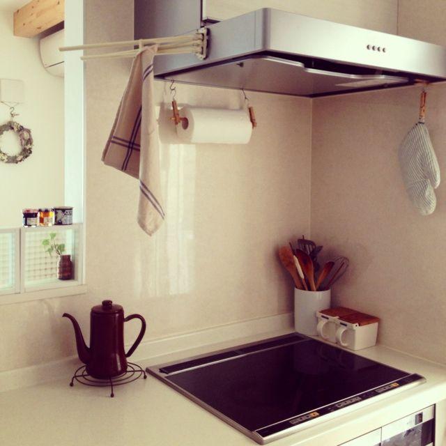 accoさんの、レンジフード,キッチンペーパー,IH,月兎印,調味料入れ,キッチン,のお部屋写真