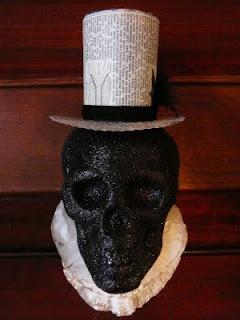 Victorian halloween decor made from Dollar Tree Skull!!