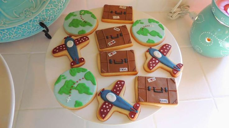 Vintage travel baby shower  party cookies! See more party planning ideas at CatchMyParty.com!