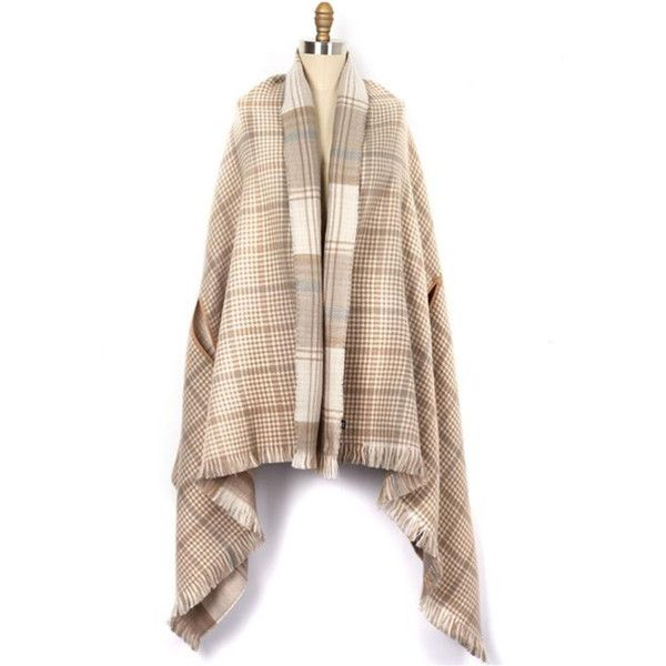 Echo Double Face Plaid Wrap (€52) ❤ liked on Polyvore featuring accessories, scarves, tan combo, echo scarves, tartan plaid scarves, plaid shawl, tartan scarves and tartan shawl