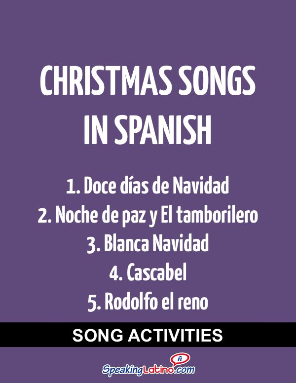 Spanish Class Activities With Christmas Songs in Spanish #Christmas #SpanishSongs | Silent Night, White Christmas, Little Drummer Boy, Rudolph the Red-Nosed Reindeer, The Twelve Days of Christmas and Jingle Bells in Spanish