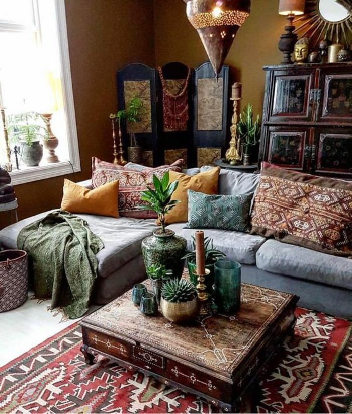 Living Room Color Schemes Brown Walls And A Colorful Persian Carpet Pale Grey Sofa Yellow And Bohemian Style Living Room Bohemian Living Rooms Living Decor