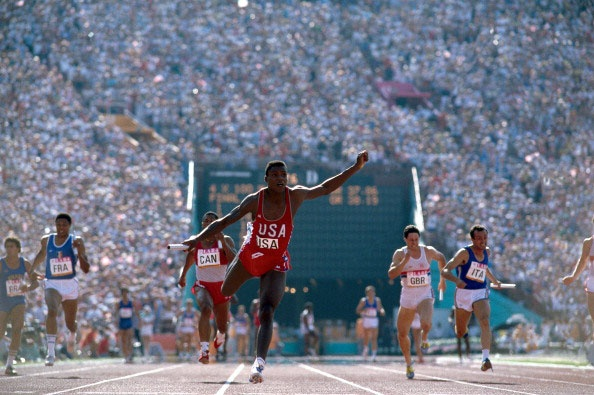 Neil Leifer took this photograph of sprinter Carl Lewis during the 1984 Olympics. Lewis won four gold medals that year. Photo from Relentless: The Stories behind the Photographs, by Neil Leifer with Diane K. Shah (University of Texas Press, 1984 Summer Olympics, Usa Olympics, Neil Leifer, Carl Lewis, Long Jump, Sport Icon, Sports Images, Sport Photography, Photography Ideas
