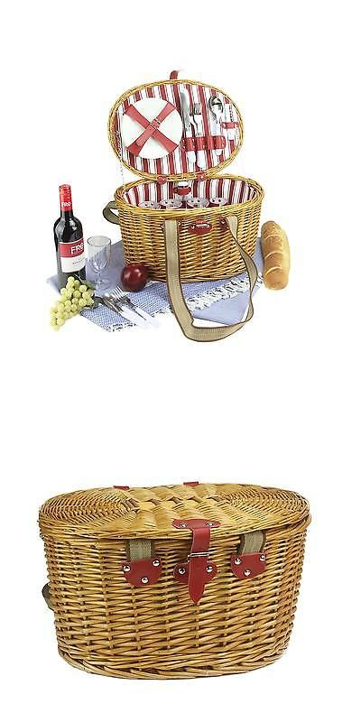 Picnic Baskets and Backpacks 38249: Northlight 4-Person Hand Woven Honey Willow Striped Picnic Basket Set -> BUY IT NOW ONLY: $49.99 on eBay!