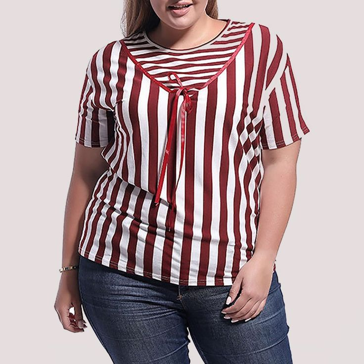Plus Size Casual Round Neck Striped Printed Colour T-Shirt