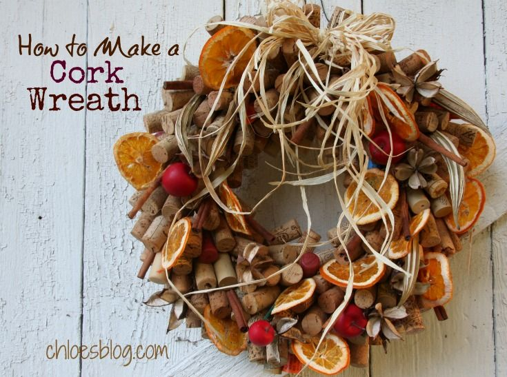 What a gorgeous holiday decoration! Learn how to make this stunning cork wreath. Complete instructions on chloesblog.bigmill.com
