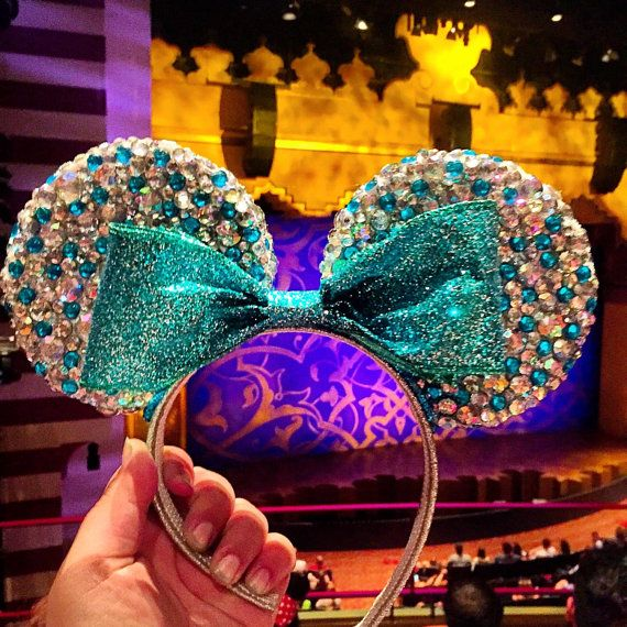 Princess Ariel Bedazzled Minnie Mouse Ears by MouseketeerEars
