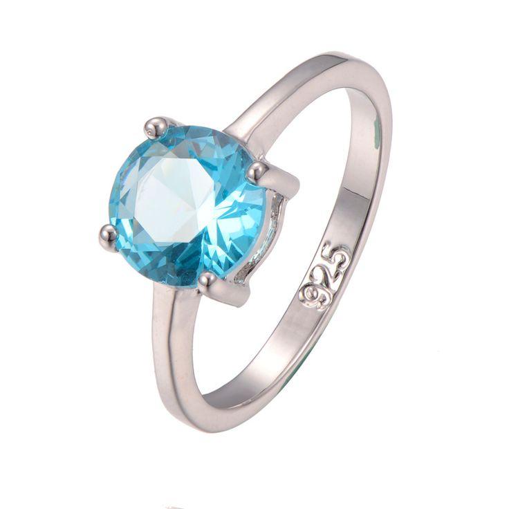Klassieke Stijl Gesimuleerde Aquamarijn 925 Sterling Zilver Bruiloft Fashion Design romantische Ring Maat 5 6 7 8 9 10 11 12 PR29