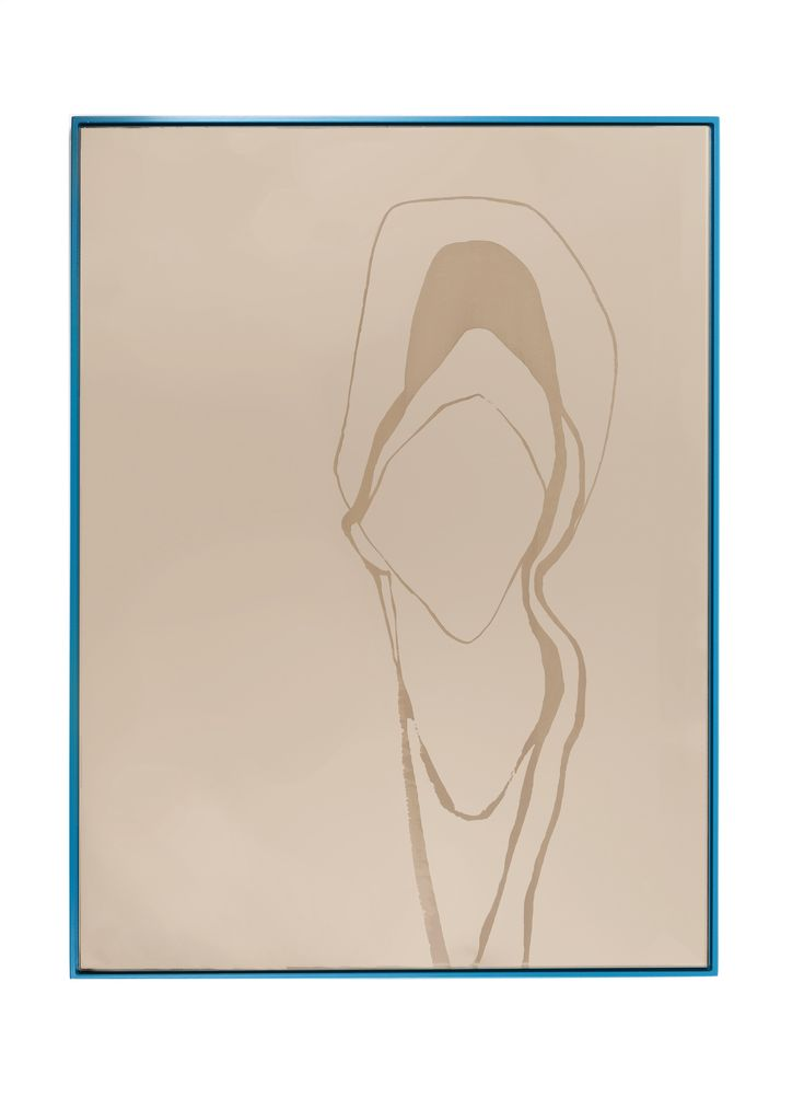 "Bronze/Naples Blue Rectangle Mirror   24"" x 32""  laser-engraved figure on bronze mirror with naples blue lacquered MDF backer"