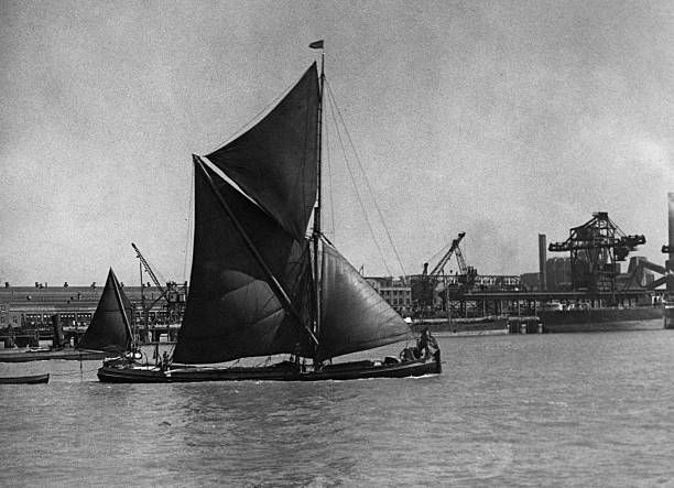 The Falconet A Thames Sailing Barge Passing The Ford Motor Factory At Dagenham Essex 3rd June 1947 Sailing Sailing Ships Barge