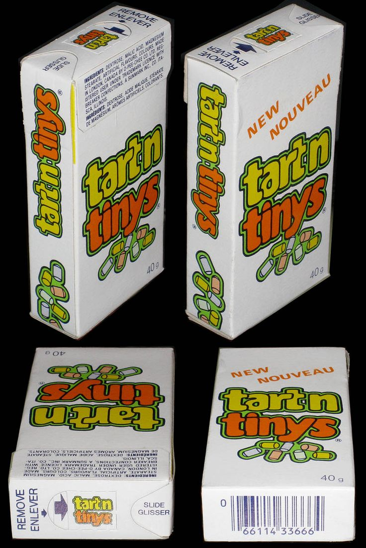 Tart 'n Tinys- These have been gone a long time. Definitely miss these. I used to color code and stack them.