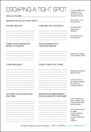 Writing Worksheet – Escaping a tight spot(PDF) Whether your character is locked up in a dungeon with her hands chained to the wall, or she's hemmed in by the walls of your plot closing in around her, this worksheet will come to the rescue! It works! I used this worksheet to save my heroine when…