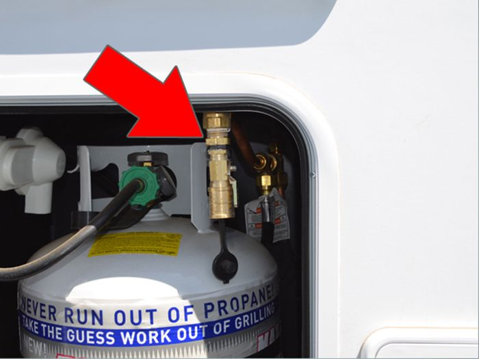 exterior propane bbq section for slide on camper