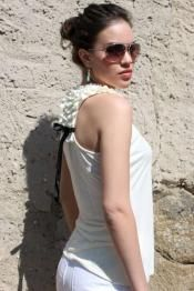 Cream Tee with Ruffles and Tie