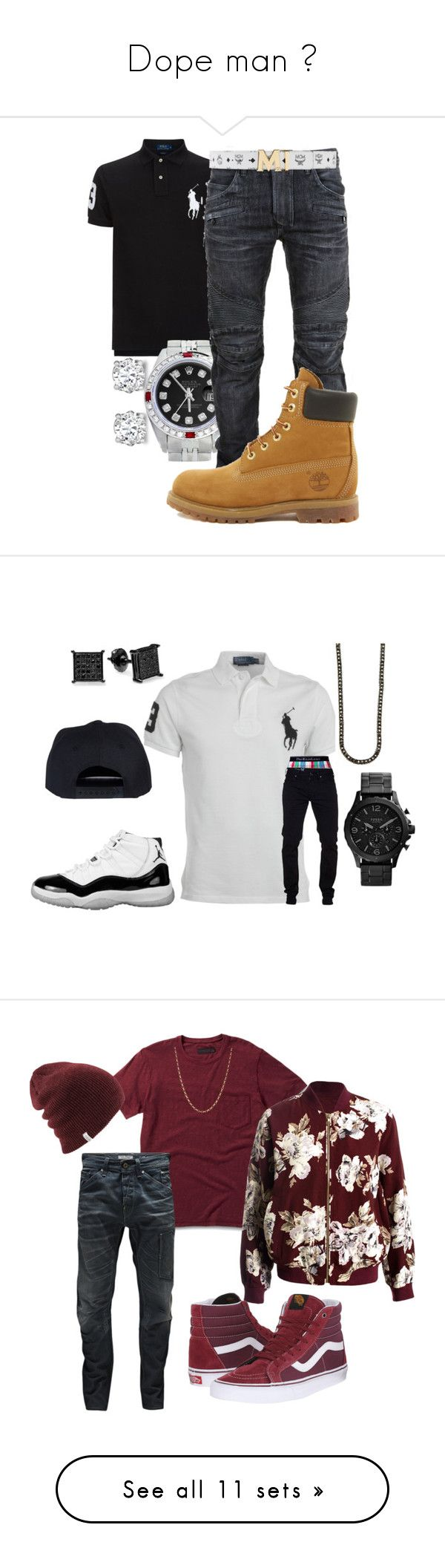 """""""Dope man """" by jdzzee ❤ liked on Polyvore featuring Asprey, Polo Ralph Lauren, Rolex, Balmain, Timberland, MCM, men's fashion, menswear, Ralph Lauren and FOSSIL"""
