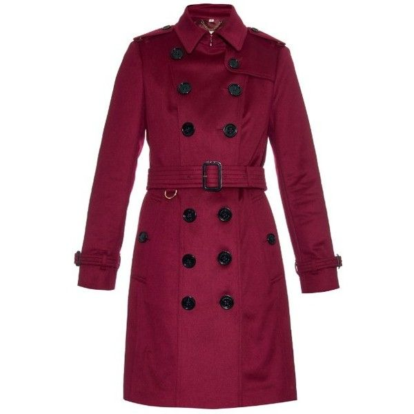 Burberry London Sandringham long cashmere trench coat found on Polyvore featuring outerwear, coats, jackets, outwears, purple, double breasted long coat, double-breasted coat, long trench coat, purple trench coat and purple coat