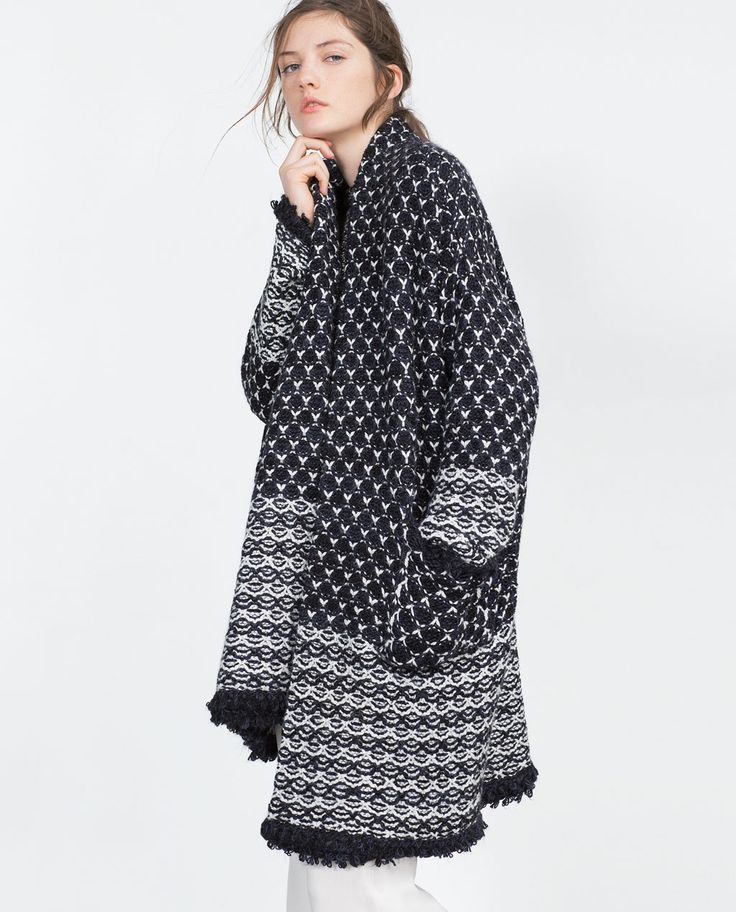 JACQUARD COAT WITH A FRAYED HEM-View all-Knitwear-WOMAN-SALE | ZARA United States