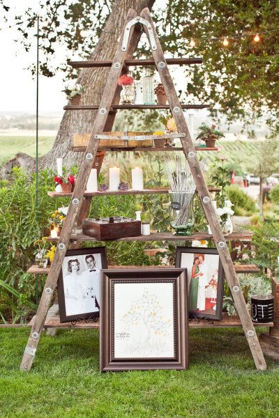Love this display of details - old photos, sparklers, candles, vintage decor, etc.