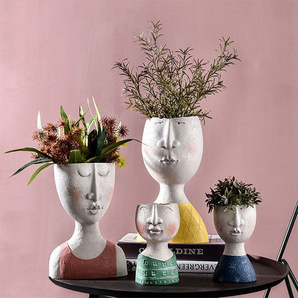 Artistic Face Flower Pot From Apollo Box In 2020 Flower Pots Face Planters Unique Flower Pots
