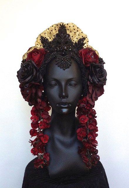 Red & Black Flower Headdress with Swarovski Crystals