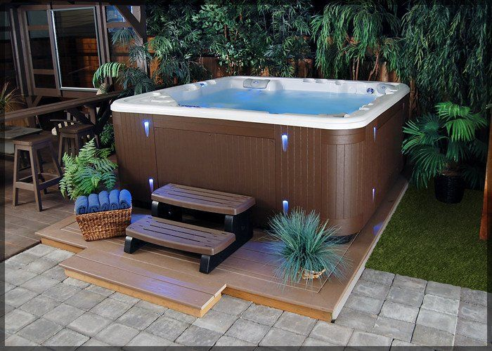 Eastern Star 6 Person 45 Jet Spa With Waterfall Hot Tub Backyard Hot Tub Patio Hot Tub Landscaping