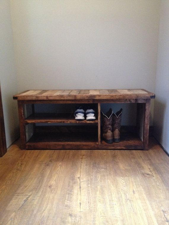 Rustic Shoe Bench by WoodlandRustic on Etsy
