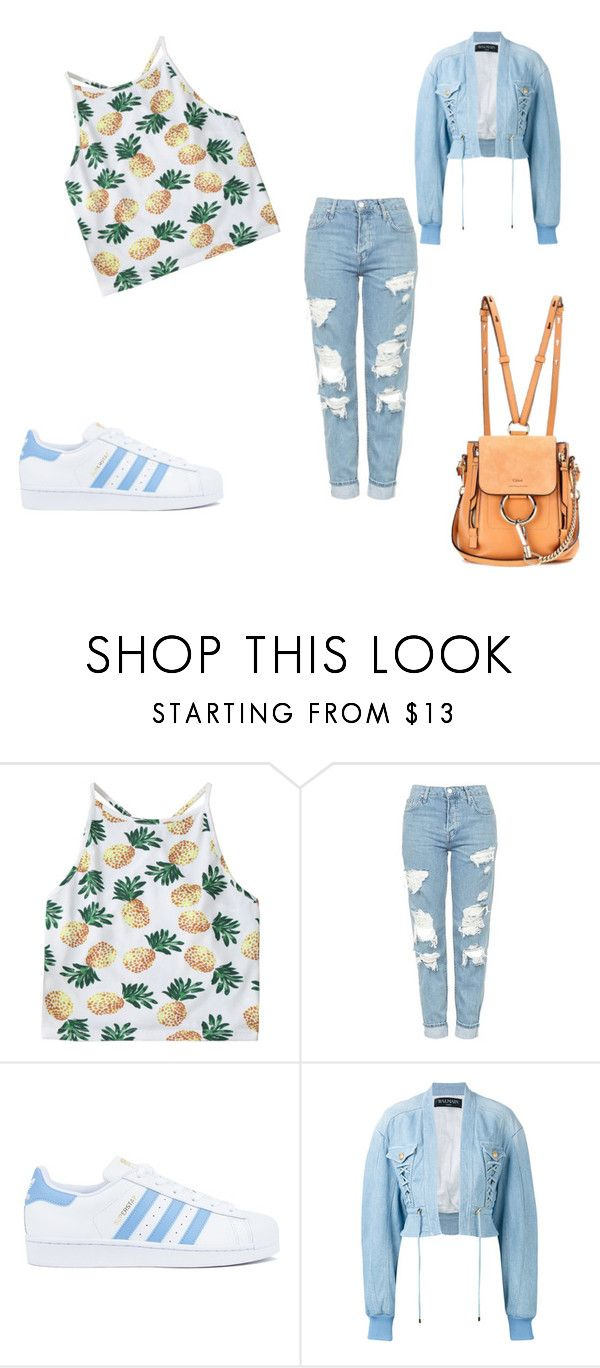 """summer"" by heddastoltnielsen on Polyvore featuring Topshop, adidas, Balmain and Chloé"