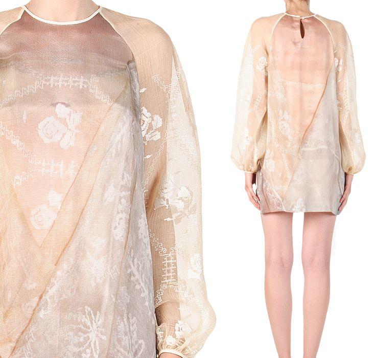Heritage goes #digital!    #SandraGalan #silk mini #dress with neo #folk #digital #print & long #puffed #sleeves made of authentic #vintage #Romanian #wedding #veil