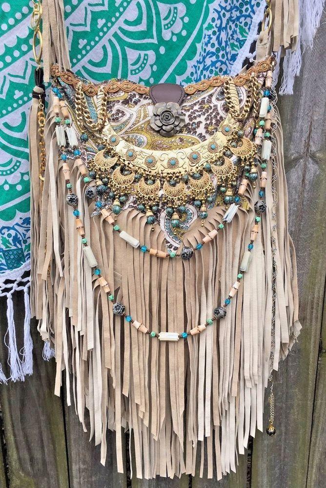 Handmade Sandy Tan Suede Fringe Bag Boho Hobo Hippie Gypsy ~Leather~ Purse B.Joy #Handmade #MessengerCrossBody