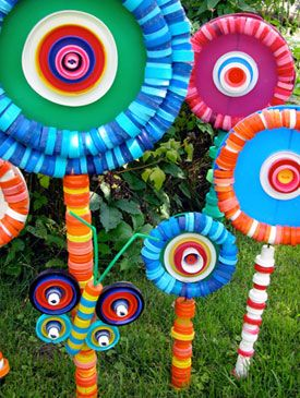Bottle caps in the garden? Well, these lollipop flowers will brighten up any winter garden before the real blooms come.
