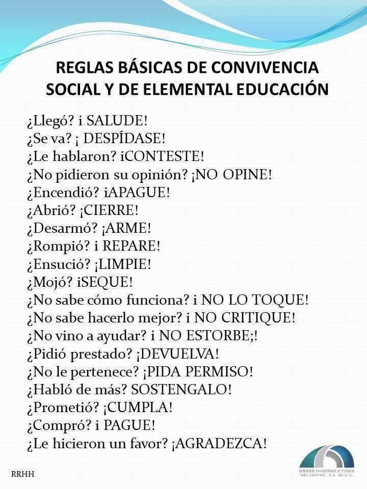 Reglas Basicas de Convivencia Social y de Elemental Educacion